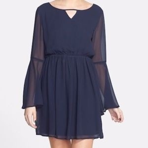 Paper Crane Bell Sleeve Skater Dress navy blue